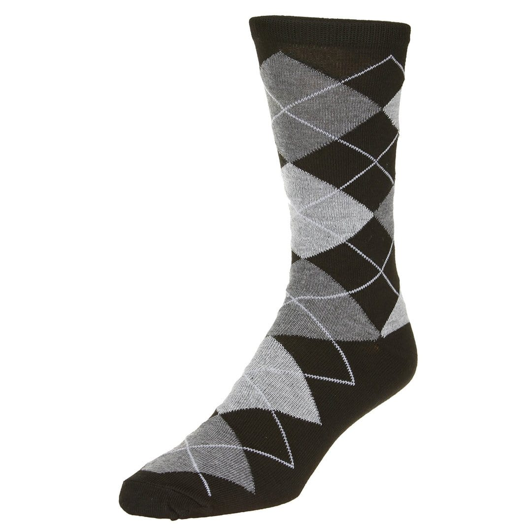 Casual Argyle Socks Men's Crew Sock Black with grey and dark grey accents