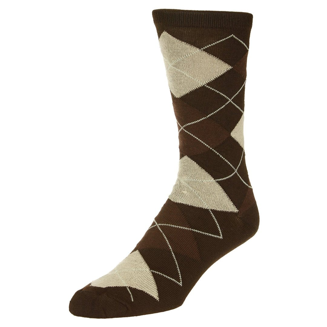 Casual Argyle Socks Men's Crew Sock Brown with tan and dark brown accents