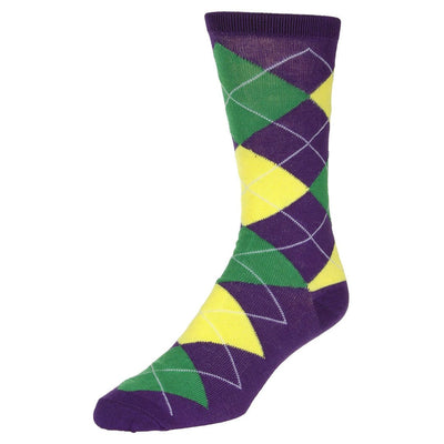 Casual Argyle Socks Men's Crew Sock Purple with green and yellow accents