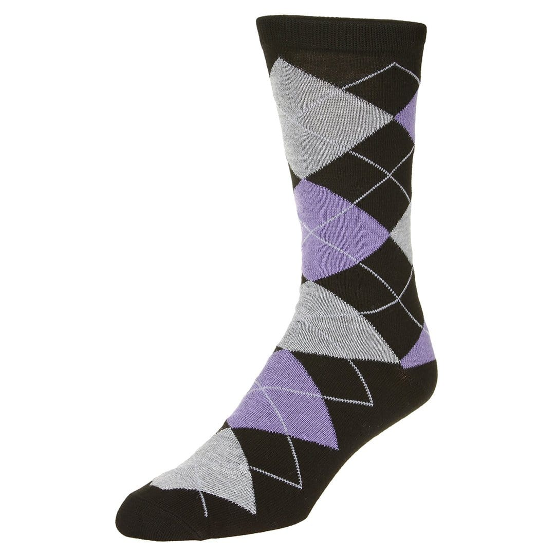 Casual Argyle Socks Men's Crew Sock Black with purple and grey accents