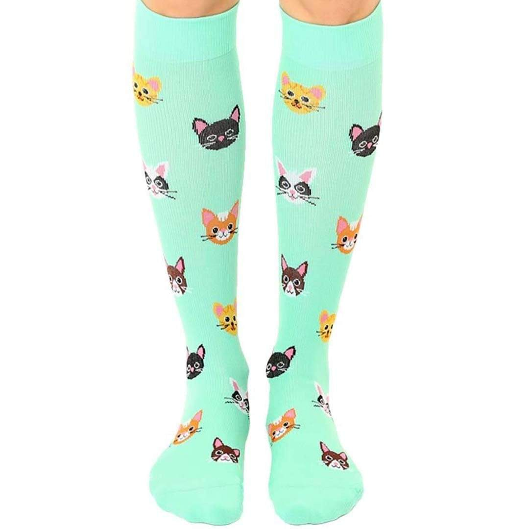 Cat Unisex Compression Knee High Sock Green