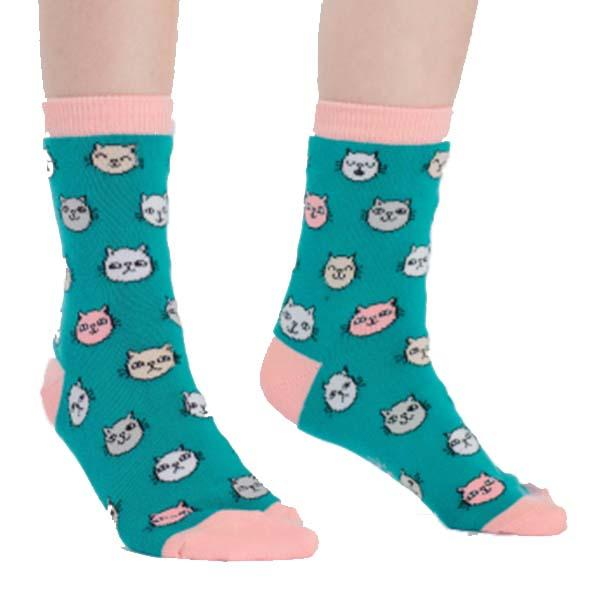 Feline Fine Junior Crew Socks Teal