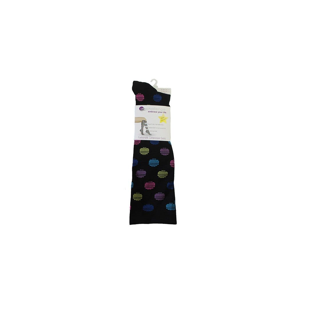 Black Polka Dot Compression Socks Knee High Sock Black