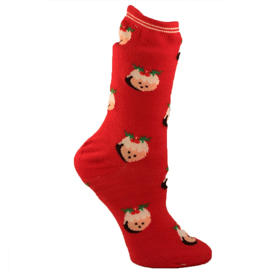 Christmas Gnome Socks Women's Crew Sock Red