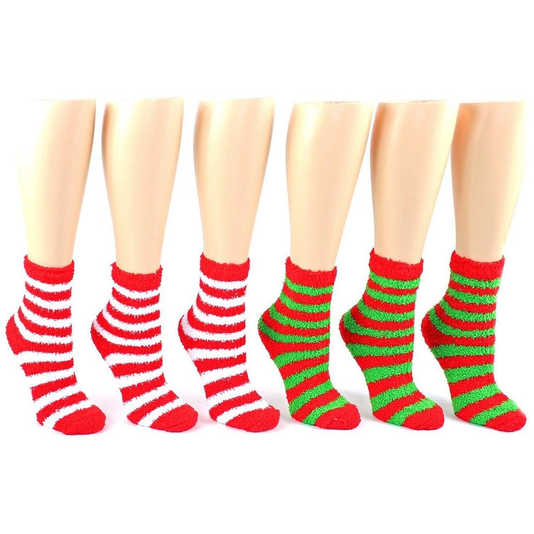 Christmas Striped Fuzzy Socks - Women's Ankle Sock