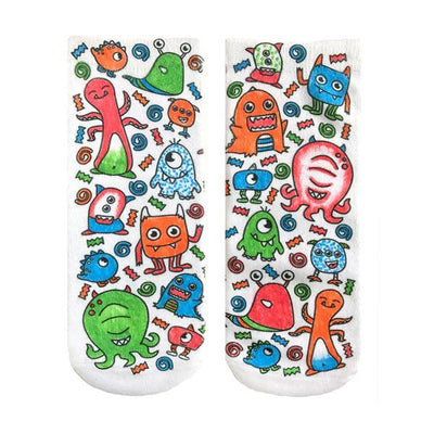 Monster Party Color In Socks Ankle Sock White