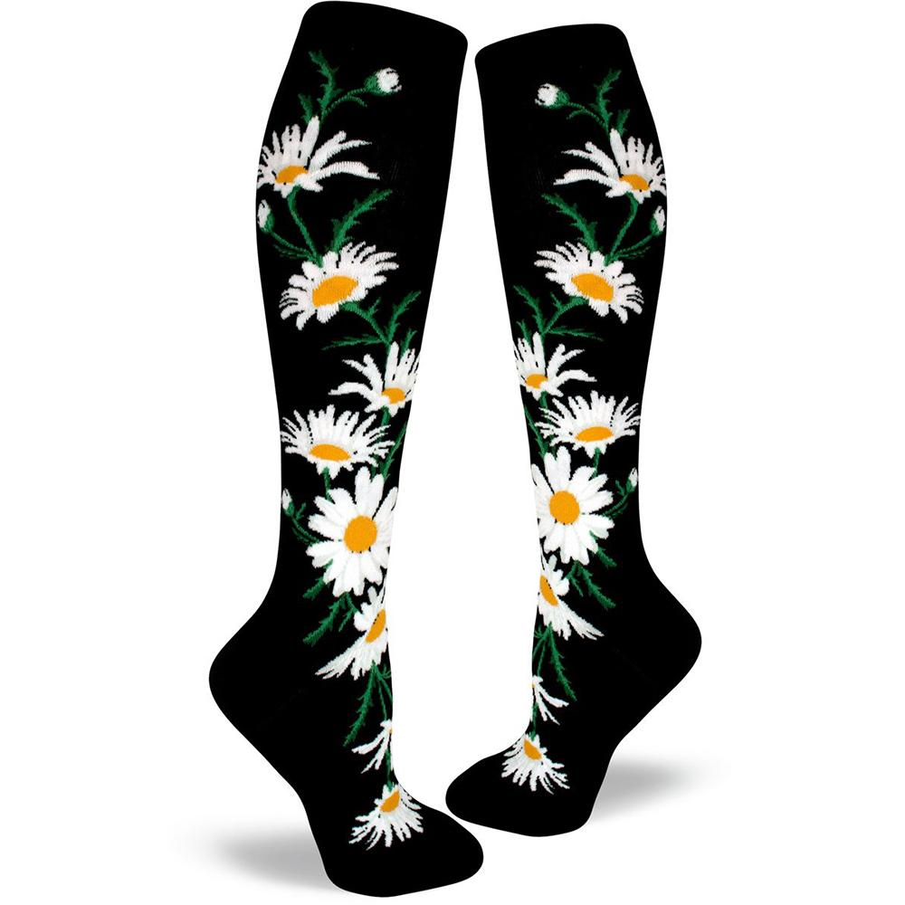 Crazy for Daisies Socks - Knee High Socks black