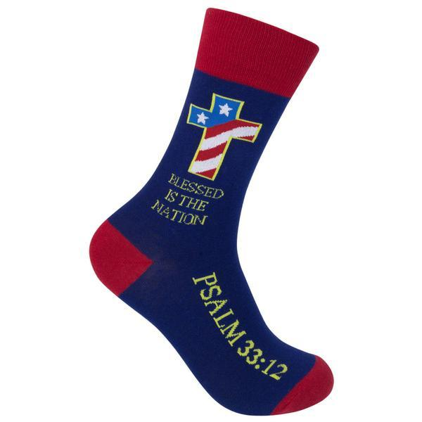 Blessed Is The Nation Unisex Crew Socks