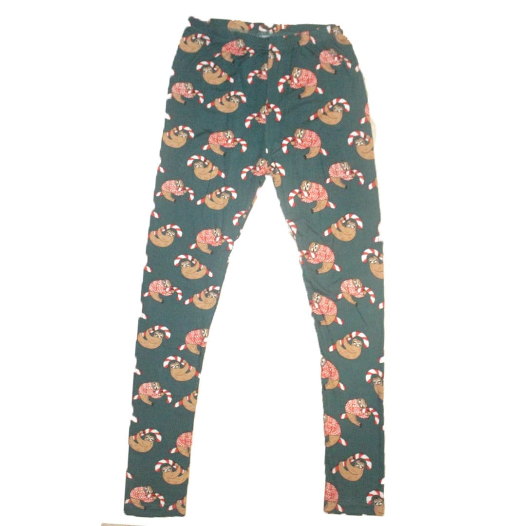 Candy Cane Sloth Leggings Small / Green