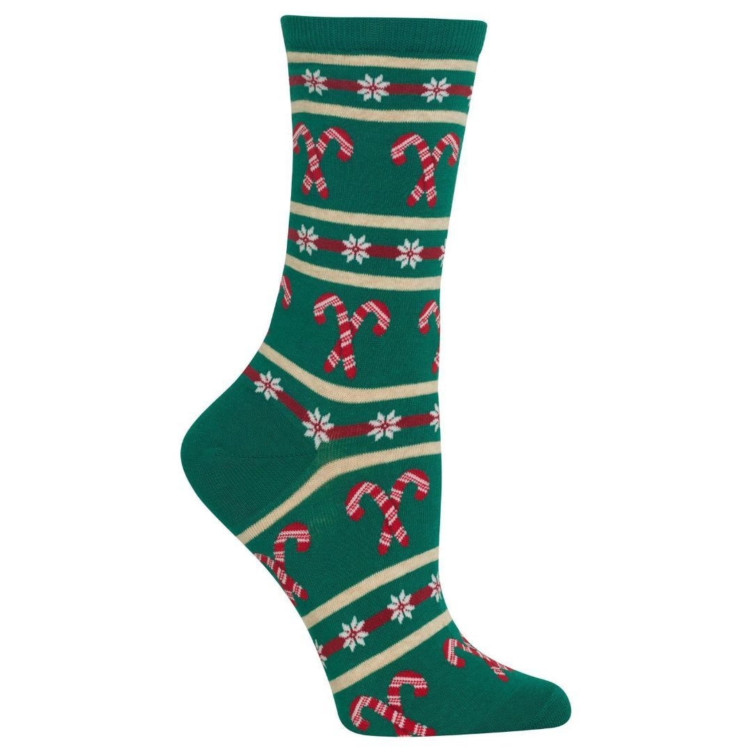 Candy Cane Stripe Socks Women's Crew Sock green