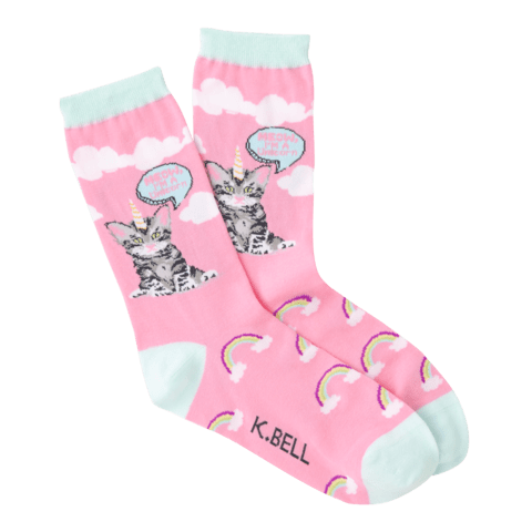 Cat Unicorn Women's Crew Socks Pink