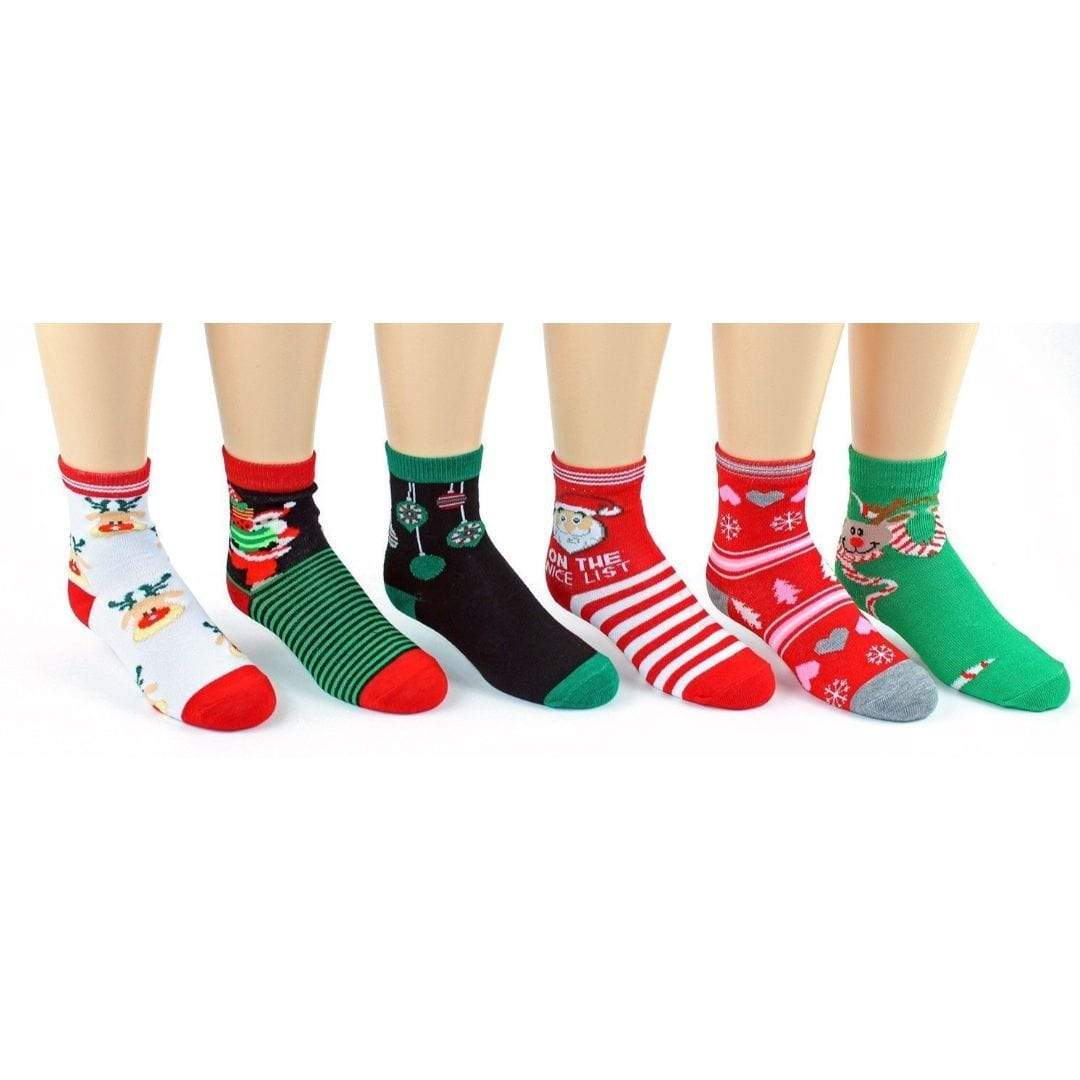 Children's Christmas Ankle Socks- Ages 4-7 - 3 pack Red / Green