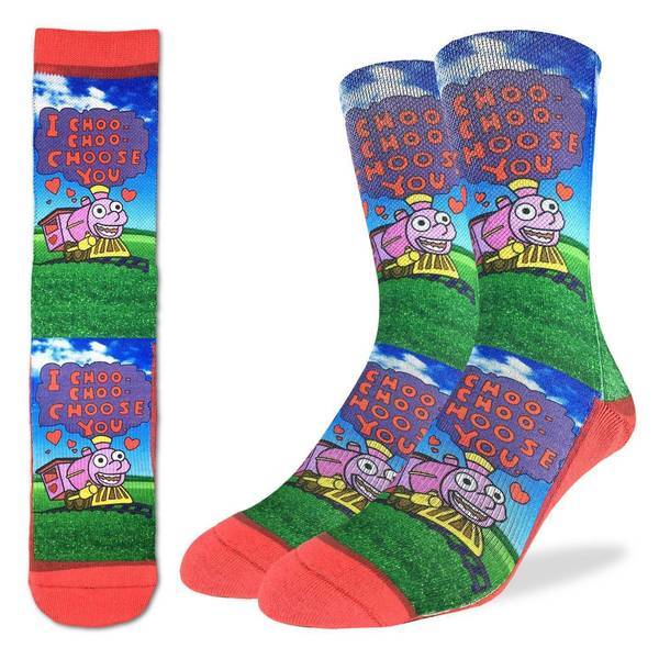 Choo Choo Choose You Socks - Active Fit Crew Socks for Men