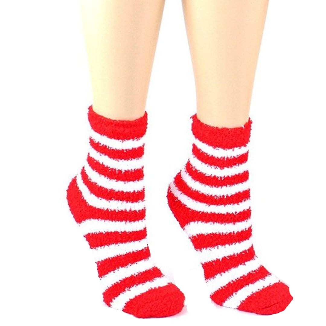 Christmas Striped Fuzzy Socks - Women's Ankle Sock Red and White