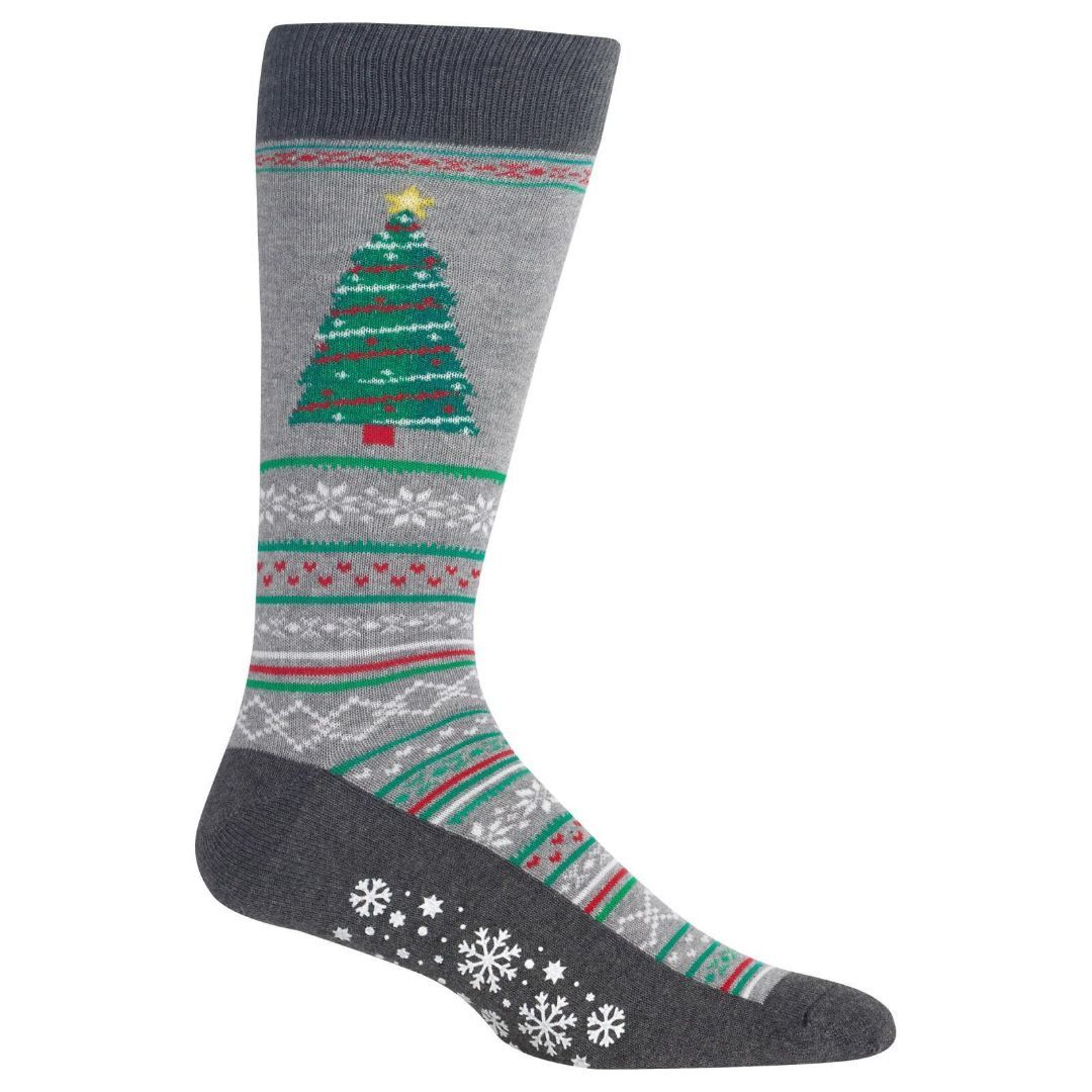 Christmas Tree Socks Men's Crew Sock Grey