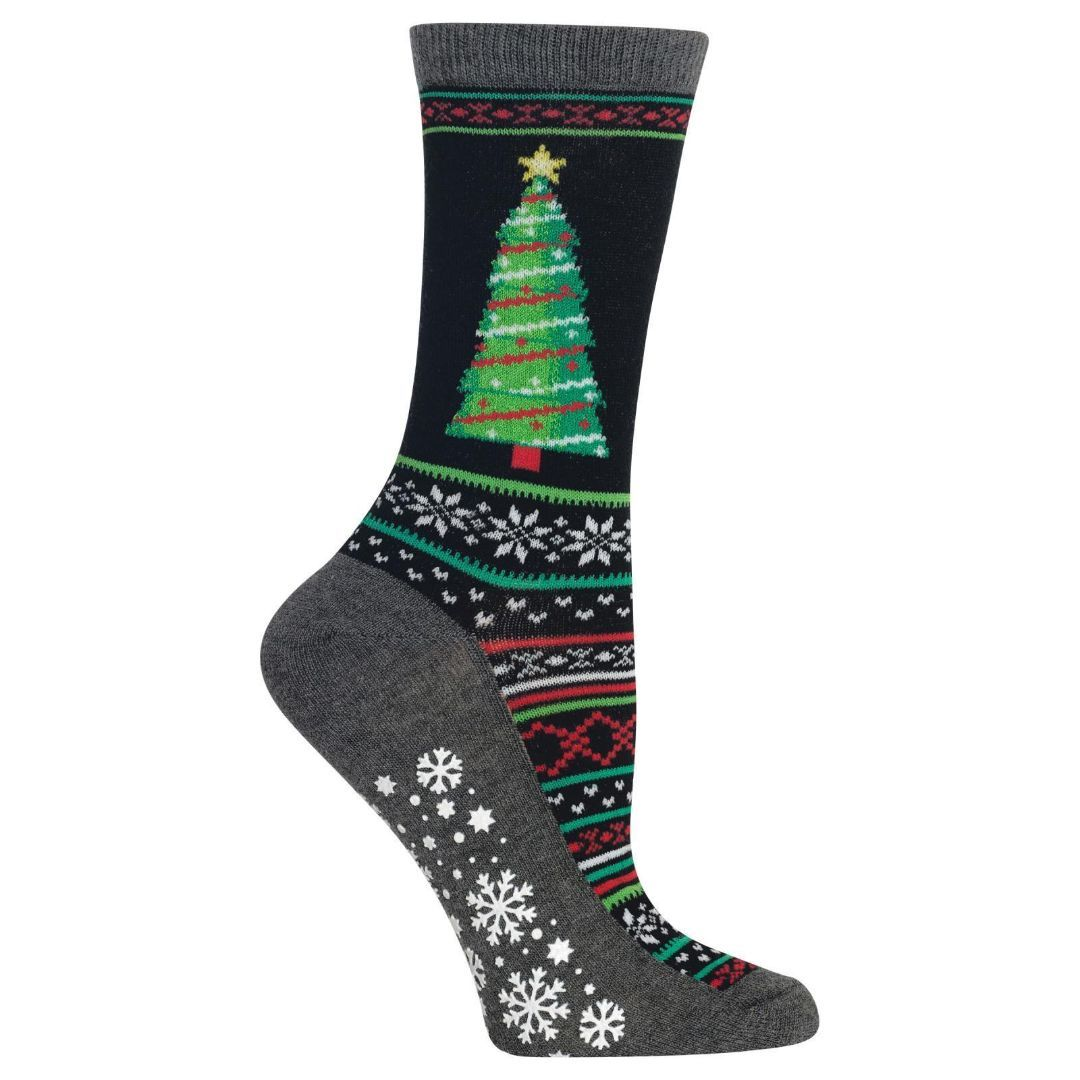 Christmas Tree Socks Women's Crew Sock Black