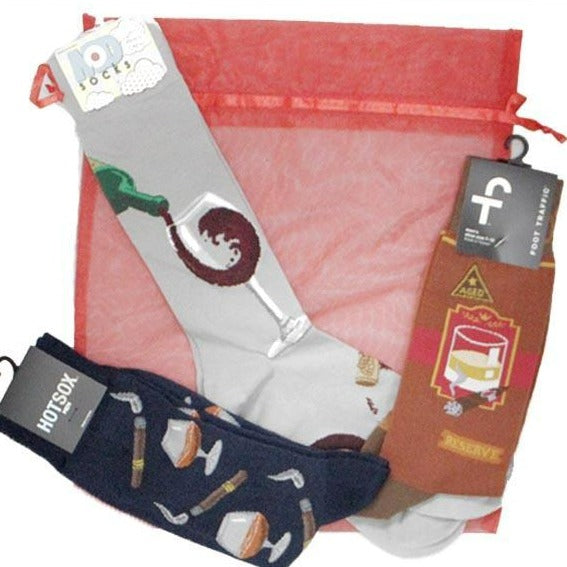 Cocktail Anyone? Gift Bag of Socks for Men Multi
