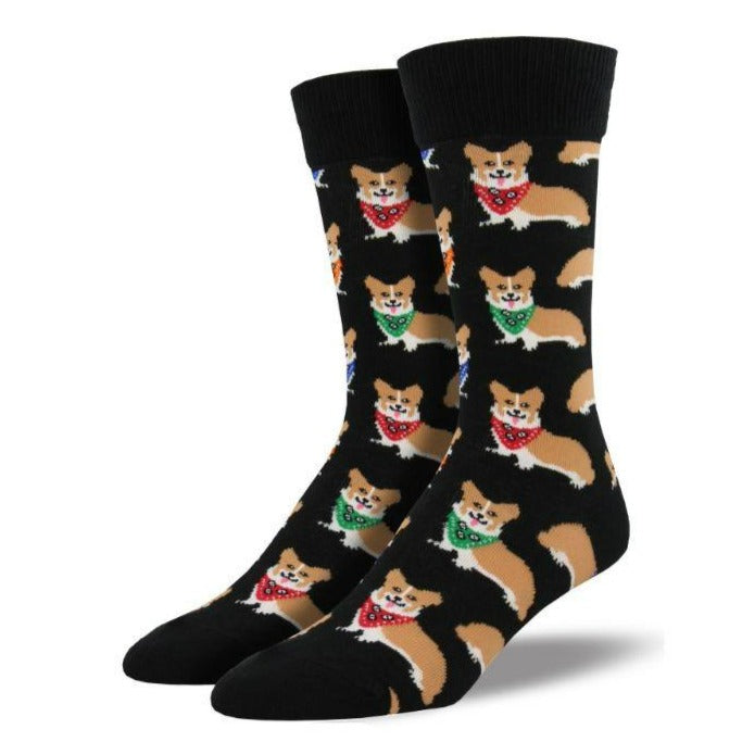 Corgi Socks -Men's Crew Sock Black