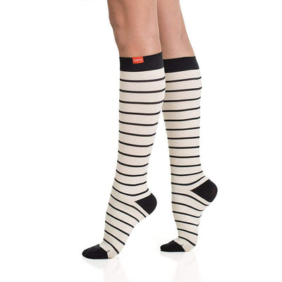 Nautical Stripes: Cream & Black Compression Socks