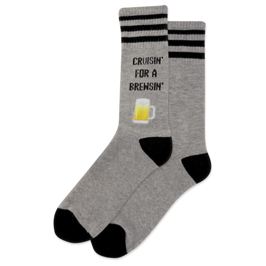 Cruisin For a Brewisn' Men's Crew Sock Grey and Black