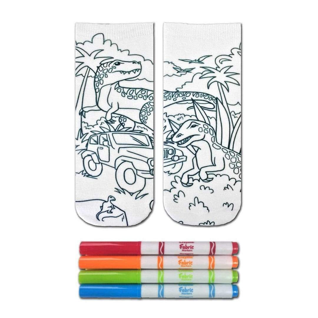Dinosaur Color In Socks Ankle Sock White