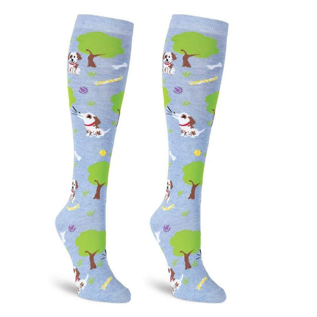 Dog Park Socks Women's Knee High Sock Blue