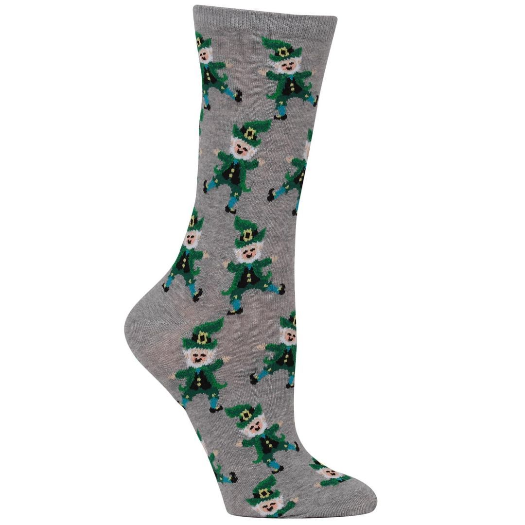 Dancing Leprechaun Socks Women's Crew Sock Grey