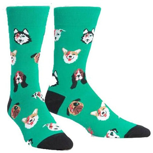 Dogs Of Rock Men's Crew Sock Green