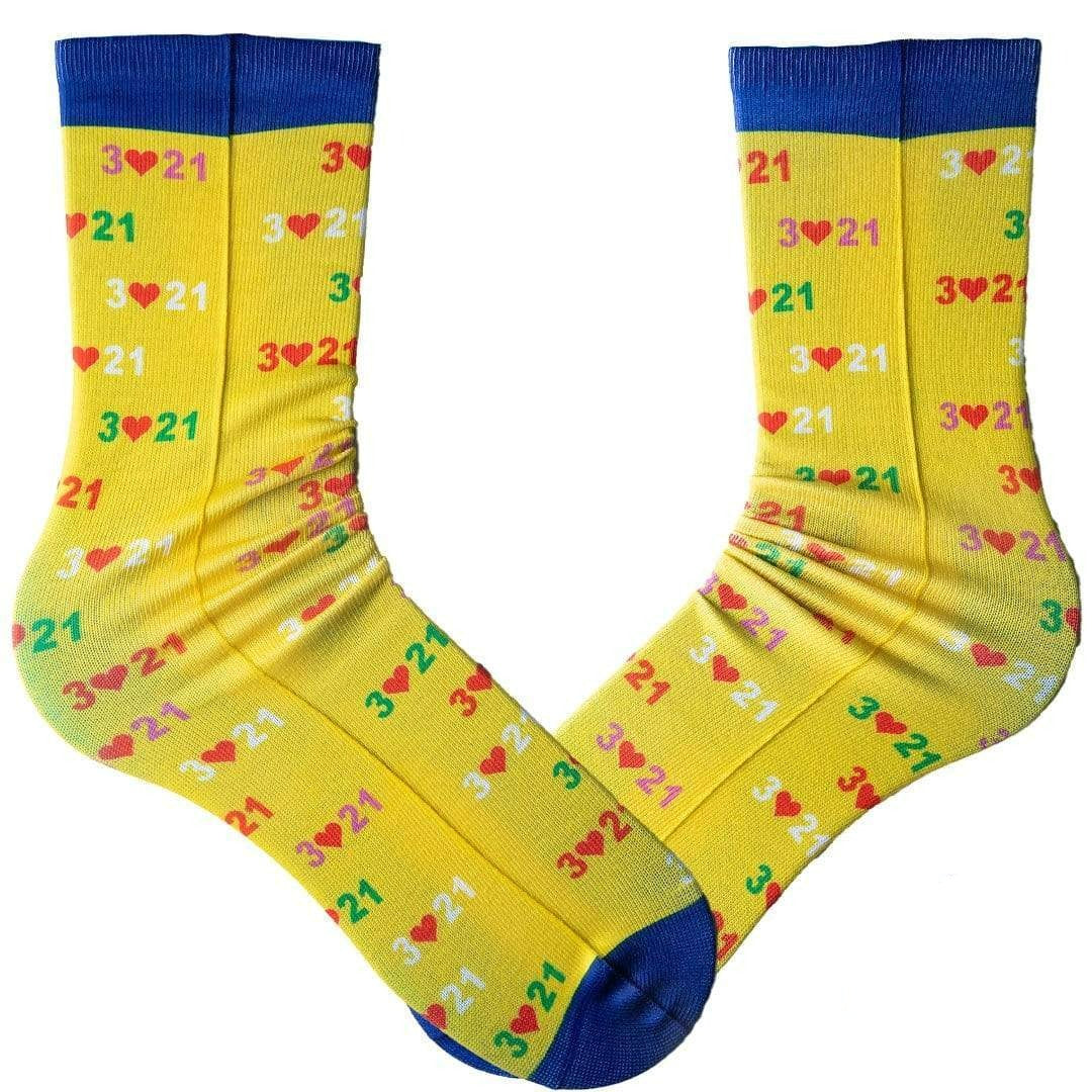 Yellow Down Syndrome Awareness Crew Socks Yellow