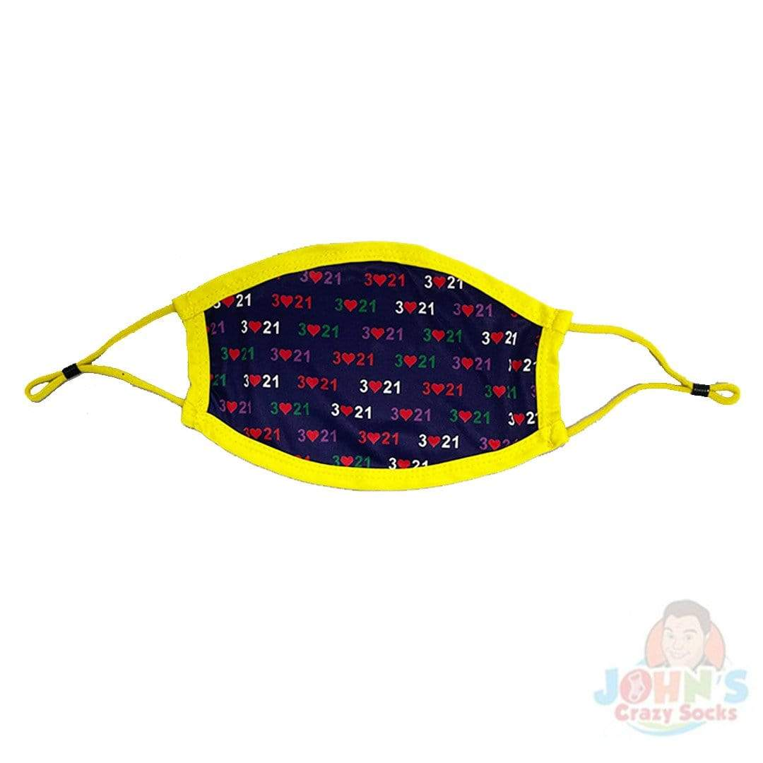 Down Syndrome Awareness Face Mask with Adjustable Ear Loops Blue