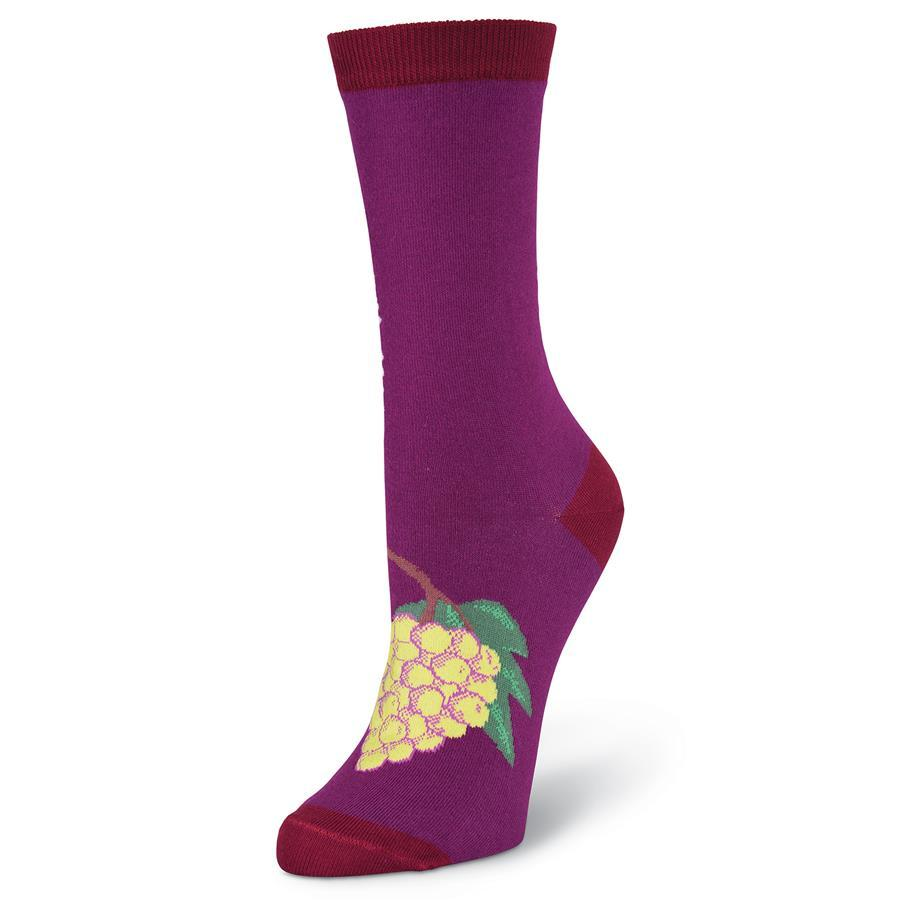 Drink Wine Socks -Women's Crew Sock Purple