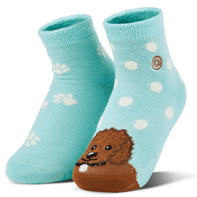 Emma Rae's Puppy Dog Fuzzy Socks Teal / Small