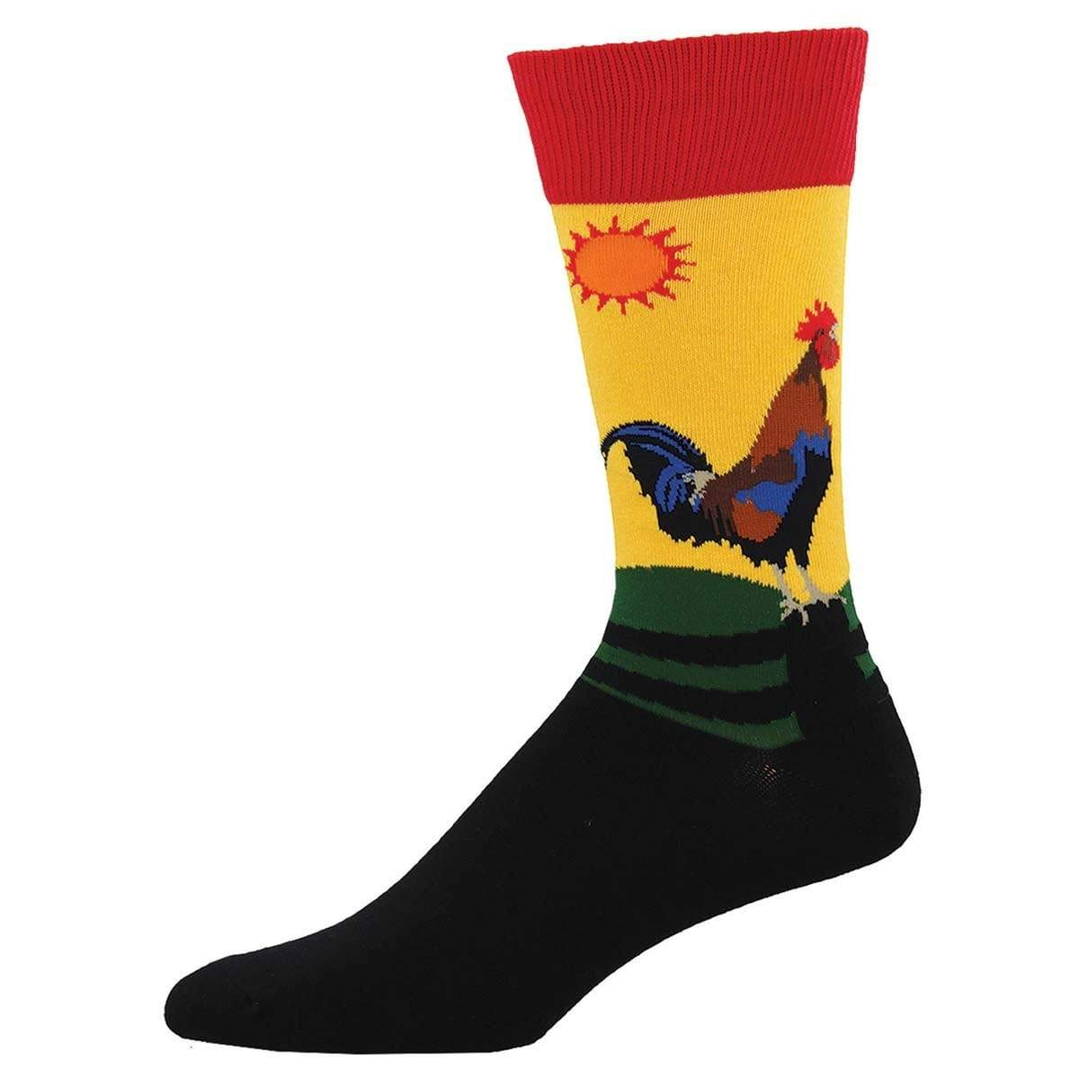 Early Riser Men's Crew Sock Yellow Red and Black