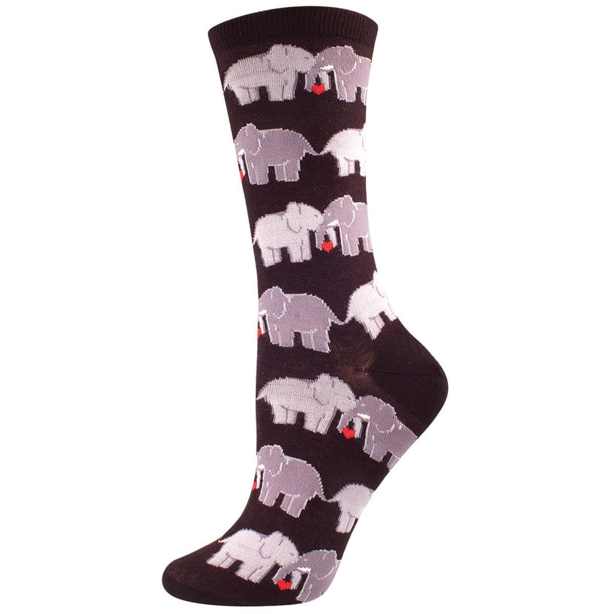 Elephant Love Women's Crew Sock Black