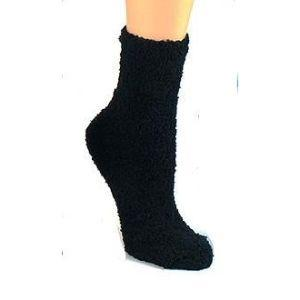 Solid Color Fuzzy Socks - Crew Socks for Women