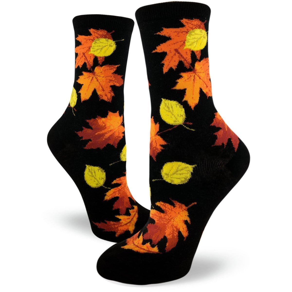Fall Leaves Socks Women's Crew Sock Black