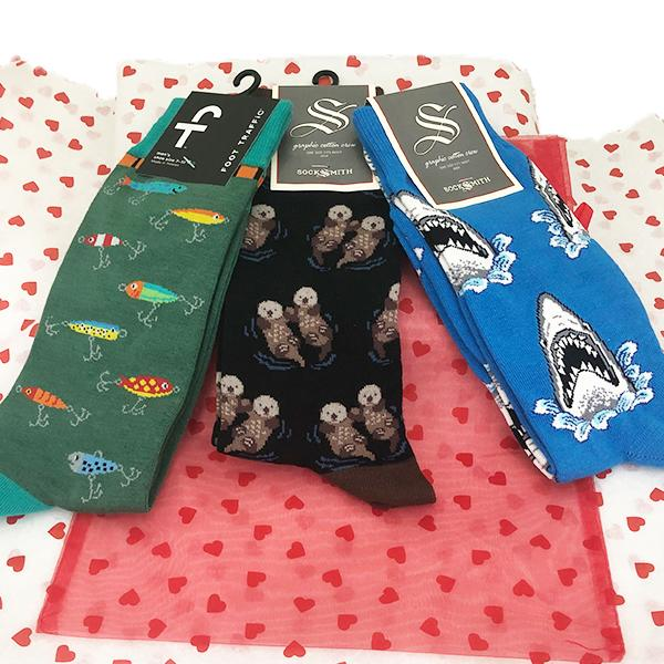 Nautical Gift Bag of Socks Black / Blue / Green