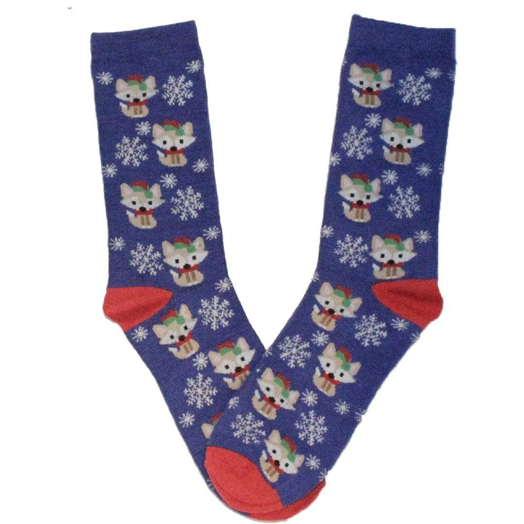 Festive Foxes Holiday Crew Socks Blue