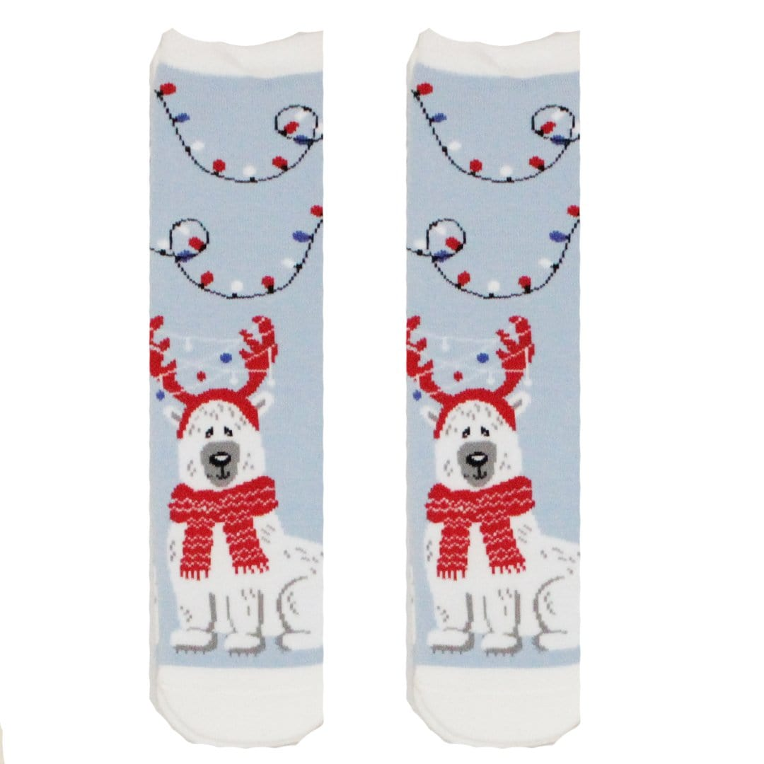 Festive Lights Polar Bear Grip Slipper Socks Blue