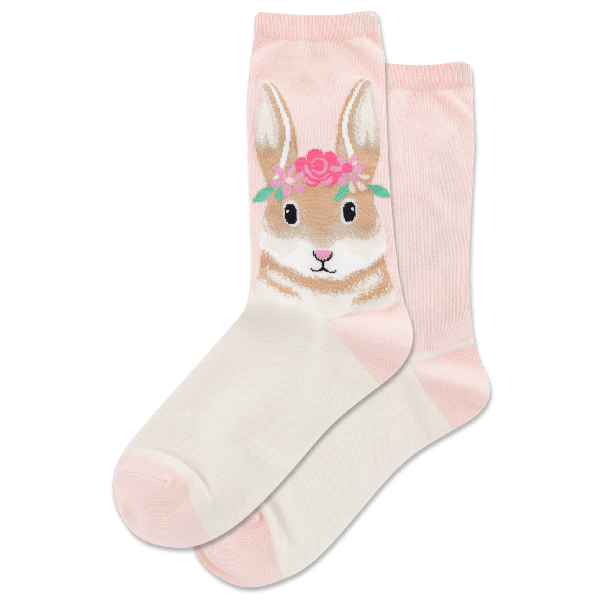 Flower Crown Bunny Women's Crew Sock Blush