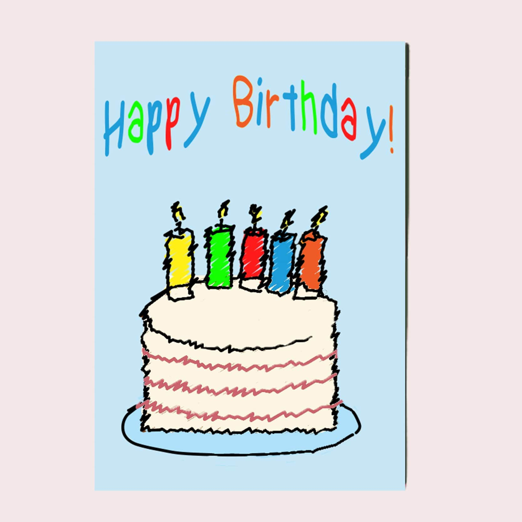 Happy Birthday Cake Greeting Card Single Card