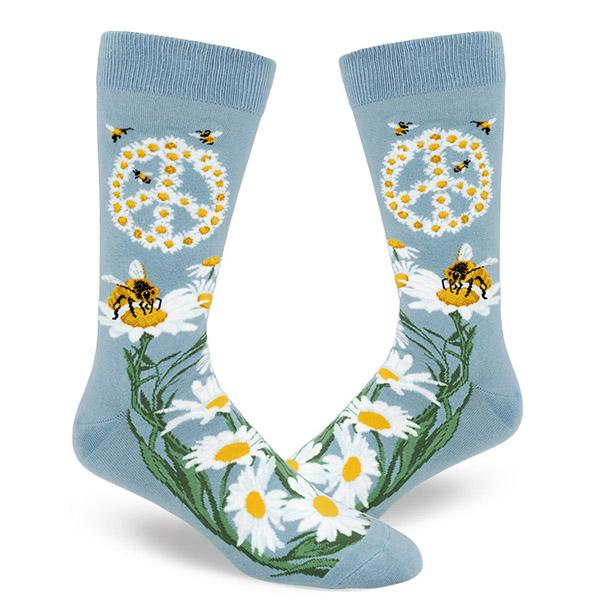 Give Bees a Chance Men's Crew Sock blue