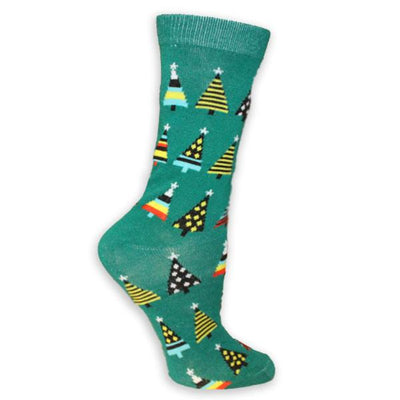 Christmas Trees Women's Holiday Sock Green