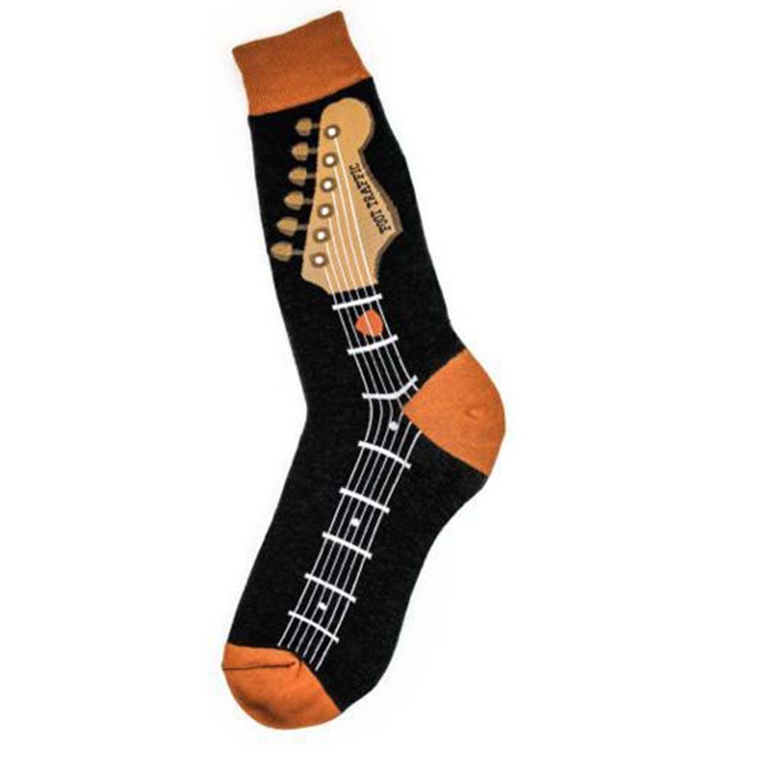 Guitar Neck Socks Men's Crew Sock black