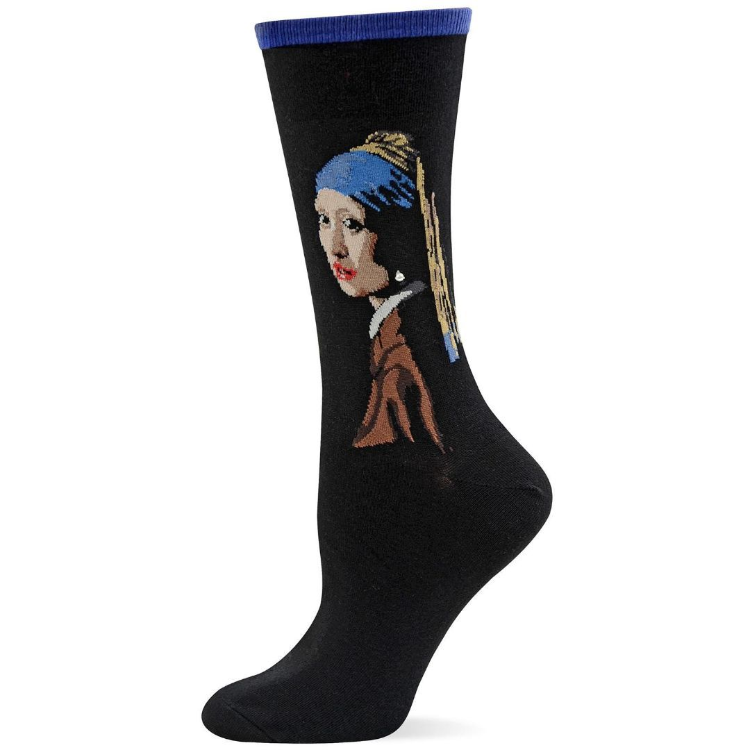Girl with the Pearl Earring Socks Women's Crew Sock Purple