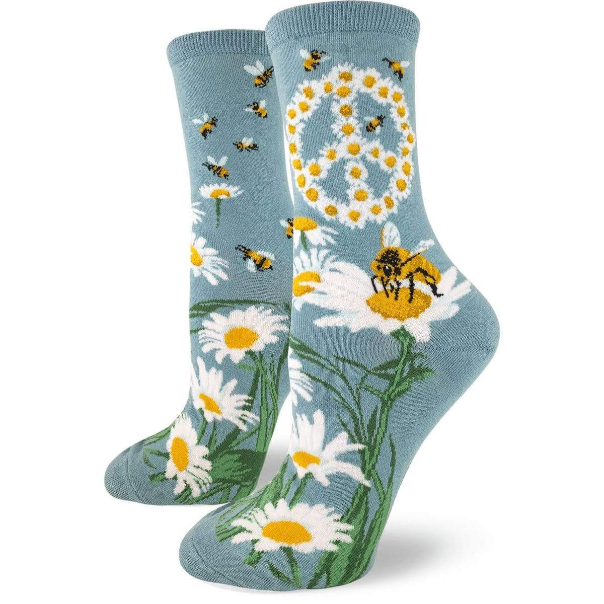 Give Bees a Chance Women's Crew Sock blue