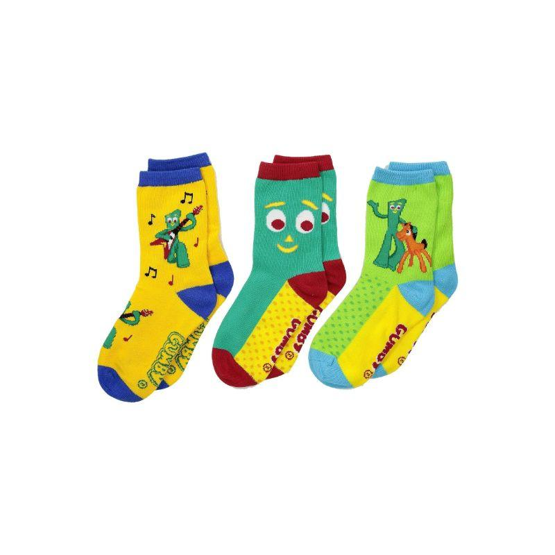 Gumby and Pokey Socks Children's Crew Sock Ages 4-7 - 3 Pack Multi