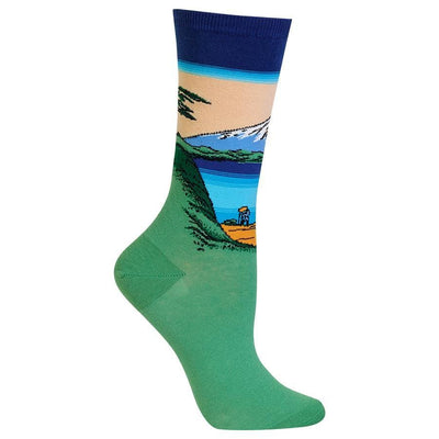 Mt. Fuji Over a Lake Socks - Crew Socks for Women