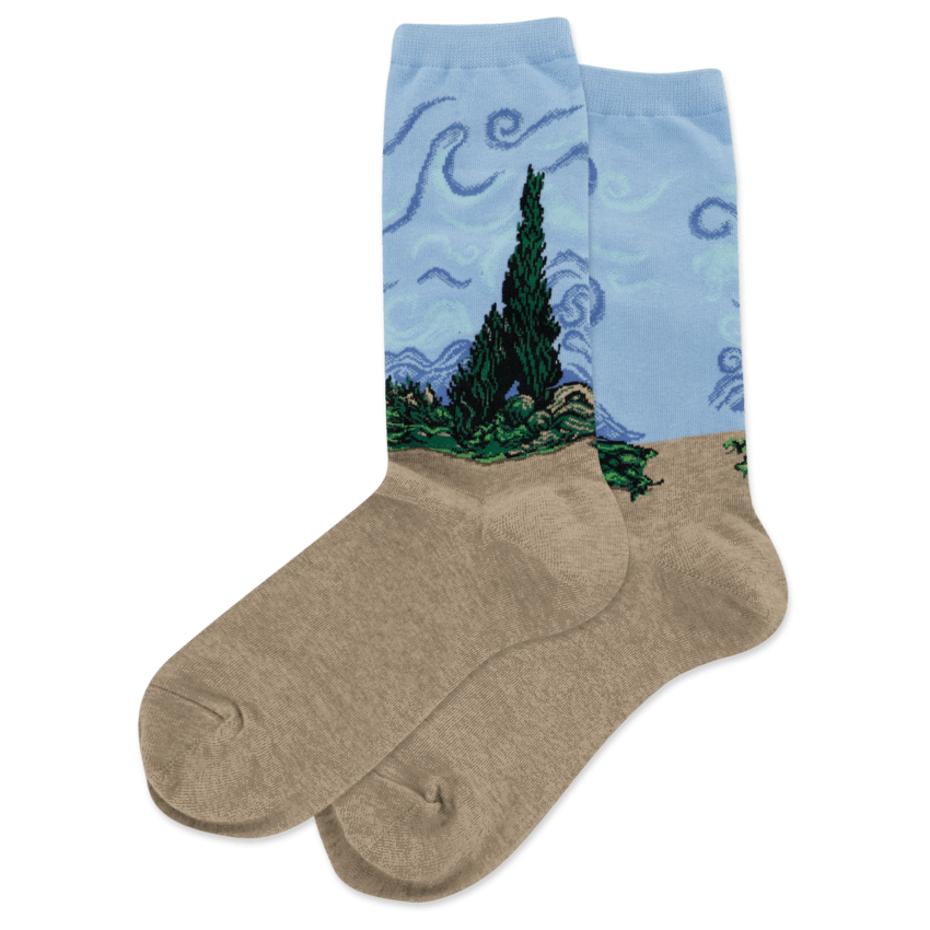 Wheat Field with Cypresses Socks Women's Crew Sock Blue