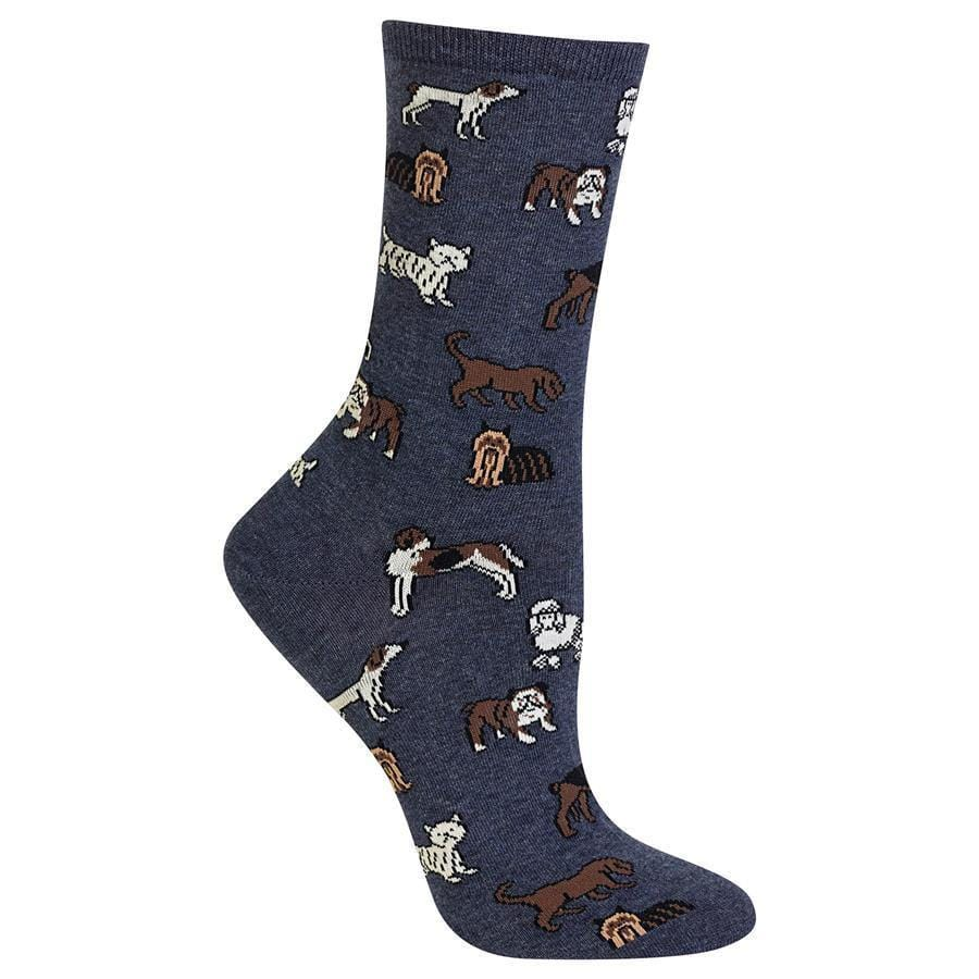 Classic Dog Socks Women's Crew Sock Denim